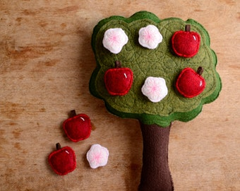 Handmade Montessori Work- Magnetic Wool Felt Counting & Sorting Toy. Apple tree. Made to Order.