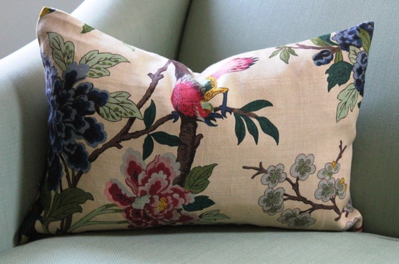 GP & J Baker Hydrangea Bird Cushion Cover 14 x 20 inch Lumbar
