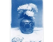 ACEO Cyanotype Photograph,  Blue & White Chrysanthemum Flowers in Oriental Vase on Lace Cloth Original Art 2.5 x 3.5 inches