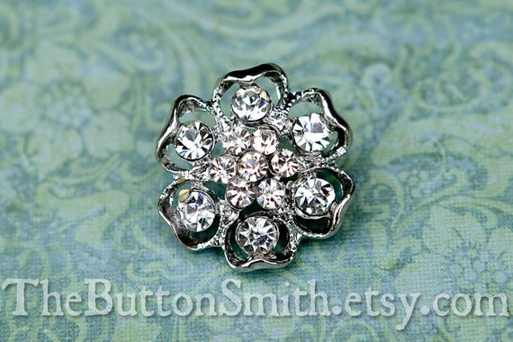 Rhinestone Buttons -Piper- (22mm) RS-043 - 5 piece set