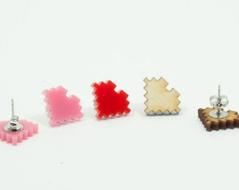 8 Bit Heart - Handmade - Laser Cut - laser cut jewelry