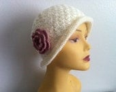 Women Cloche Hat With Flower, Woman Hat In Off White