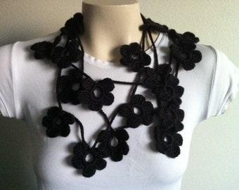 Crochet Black Flower Scarf Necklace, Lariat