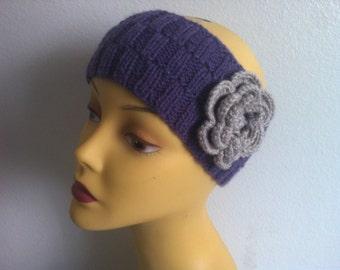 Women Headband With Flower, knit Women Headband