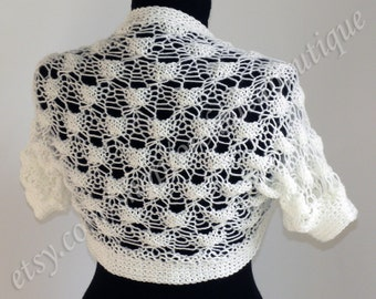 Knit white Bolero, Sleeves, Shrug, Wrap, Jacket, Wedding Bolero, Evening Bolero, Weddings