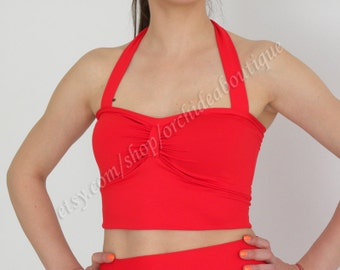 Halter crop top women fashion red handmade