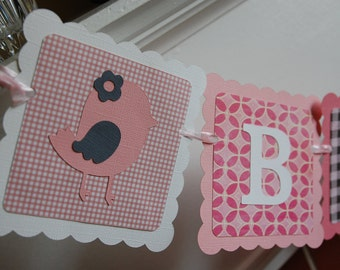 Bird Name Banner, Bird Banner, Bird Party Supplies, Bird Birthday, Bird Decorations Pink Grey