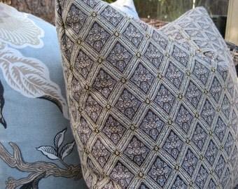 "Pillow Cover--18"" Blue Grey Diamond Geometric"