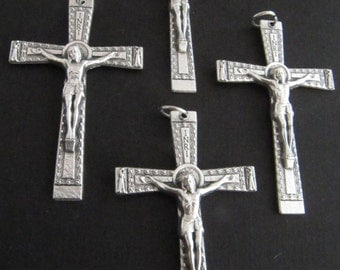Italian Made Silver Large Rosary Crucifixes - set of 4