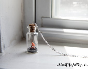 Tiny Calcifer in a Bottle Necklace
