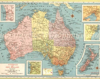 1940s LARGE AUSTRALIA Map vintage map deco map wall map oz