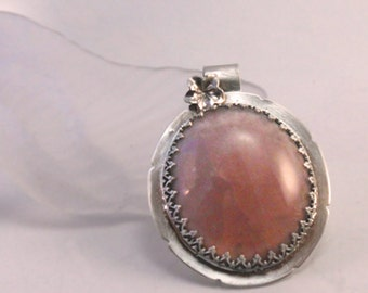 Silver Pink Orchid Crystalline Pendant Handmade One of A Kind