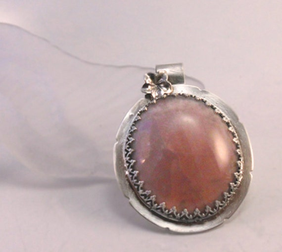 Crystalline Silvers: Silver Pink Orchid Crystalline Pendant Handmade One Of A Kind