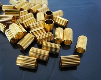 Finding - 6 pcs Gold Straight Round Cylinder Tube Rings Beads Tone ( without Loop ) 8mm x 5mm
