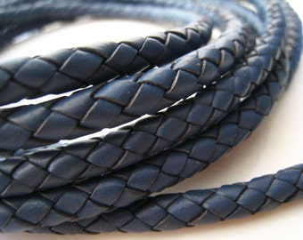 Leather Cord 5mm - Dull Blue Round Braided Bolo Genuine Leather Cord ( Hole Inside )
