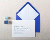 Modern Calligraphy Wedding Invitation Sample. Blue Wedding Stationery. Flat Print or Letterpress Wedding Invites. Blue Wedding Invitations.