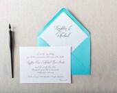 Tiffany Blue Wedding Invitation. Calligraphy Stationery for Formal Weddings. Classic Wedding Invite in Blue & Black. Tiffany Wedding Decor.