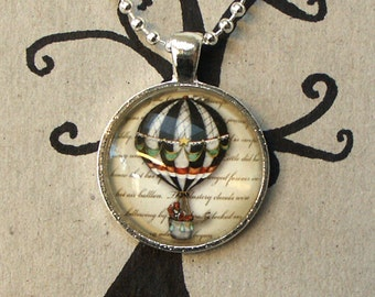 Steampunk  hot air balloon necklace glass art pendant the wizard of oz