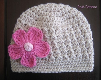Crochet PATTERN - Crochet Hat Patterns - Baby Crochet Pattern - Crochet Pattern Hat - Includes Baby, Toddler, Kids, Adult Sizes - PDF 200
