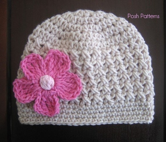 Easy Crochet Flower Patterns For Hats : Crochet PATTERN Crochet Hat Patterns Baby by PoshPatterns