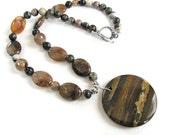 Earthy necklace, Iron Zebra Jasper with Moonstone, beaded necklace, gemstones, handmade necklace 340