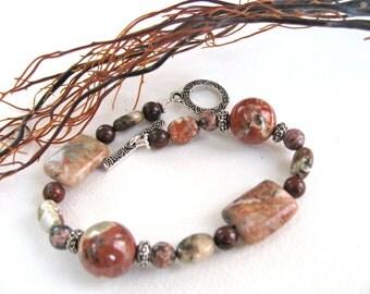 Red bracelet, Sodalite and Poppy Jasper, beaded bracelet, gemstones 054