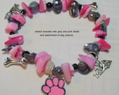 Custom Listing - Dog Lover Charm Bracelet with Pink and Grey Sea Shell