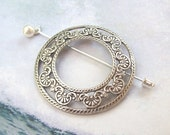 Silver Shawl Pin, Round Lapel Pin, silver scarf pin, stick pin, hat pin, hair slide, oxidized, victorian, fashion, round, frame