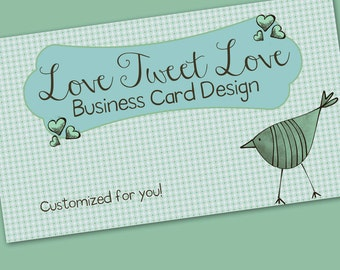 "Business Card Design Cute Long Legged Bird - ""Bird Love"""