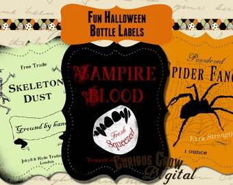 Fun Halloween Bottle Labels Digital Collage Sheet - INSTANT Printable Download - Drink Labels - Halloween Party