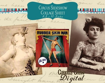 Vintage Circus Sideshow Freaks Digital Collage Sheet (Set 1)  INSTANT Printable Download