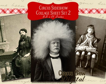 Vintage Circus Sideshow Freaks Digital Collage Sheet - (Set 2)  INSTANT Printable Download