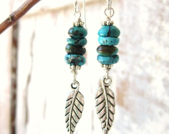 Genuine Turquoise Earrings. Southwest Silver Feather Dangle Earrings. Genuine Turquoise Jewelry