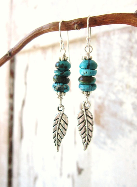 real turquoise earrings genuine turquoise earrings southwest silver feather dangle 829