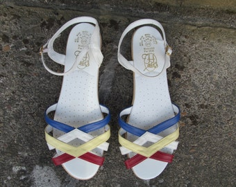 80s Nautical Strappy Sandals Womens 10