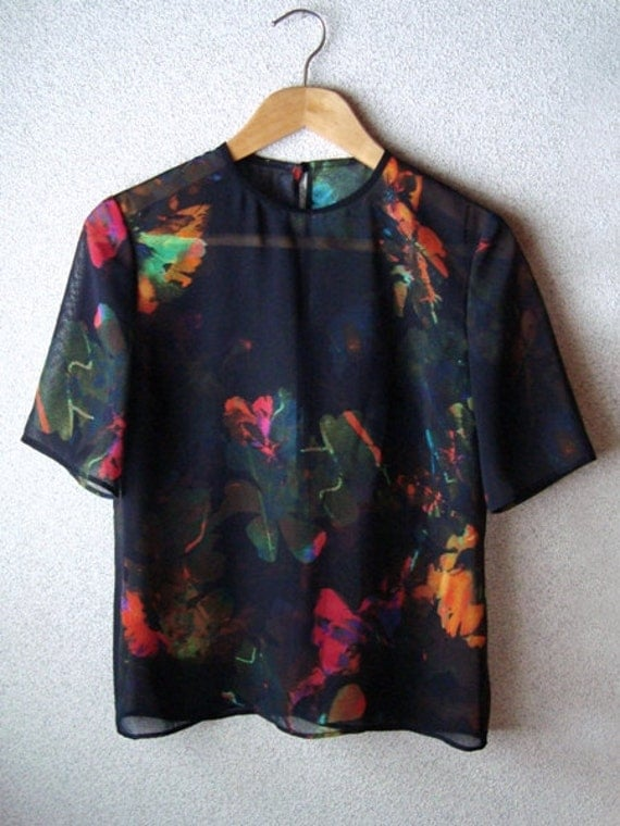 Simple Loose Silhouette Handmade Blouse Top / Black Chiffon Earth Print Shirt with Round Neckline fit for S / M sized Women