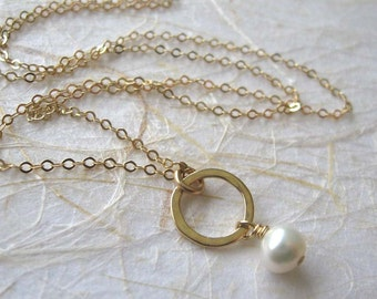 Gold pearl necklace , Delicate hammered circle pendant , 14k Gold filled chain , Handmade by Adi Yesod