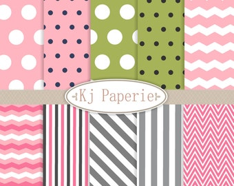 Digital Paper Pack, green , pink , grey digital paper, birthday party - Kjpaperie P7 , INSTANT DOWNLOAD