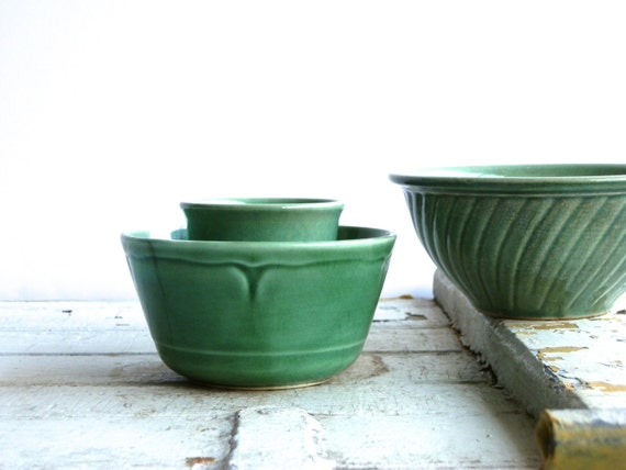 Vintage Green Pottery Bowls - Three Ceramic Bowls - Farmhouse Kitchen - Storage - Small Bowls - Ceramic Planters