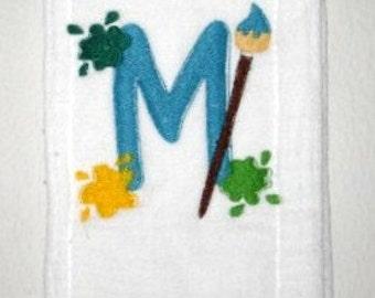 Baby Burp Cloth Embroidery Paint Alphabet Font Baby Boy Footprints