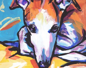 Whippet portrait art print modern Dog pop dog art bright colors 8x8 inch greyhound