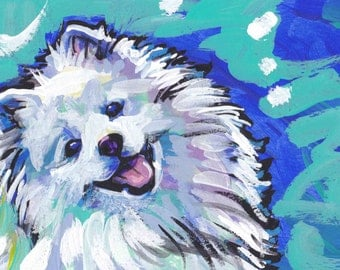 American Eskimo Dog portrait giclee print of pop art dog painting bright colors 13x19""