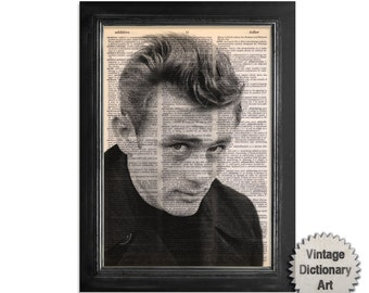 James Dean - Famous Movie Star Series - Printed on Vintage Dictionary Paper - 8x10.5
