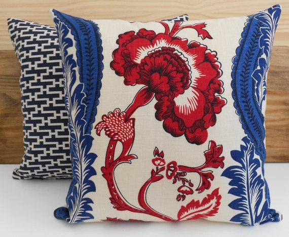 Decorative Pillow Cover Red And Blue Floral Pillow Throw