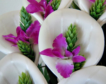 Fabric Flowers - Ivory Lilies with Fuscia Orchid Centers  (6 Stems)