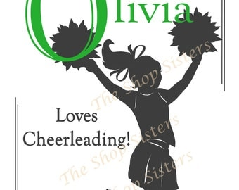Cheerleader Personalize  Silhouette 8 x 10 Print Wall art FREE SHIPPING Inspirational green