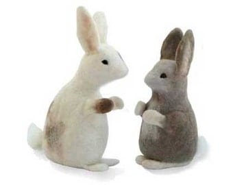 Needle Felting Kit Bunny Rabbits natural colours, online tutorial