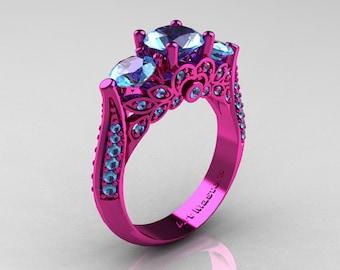 Classic 14K Pink Gold Three Stone Aquamarine Solitaire Engagement Ring, Wedding  Ring R200 14KPGAQ