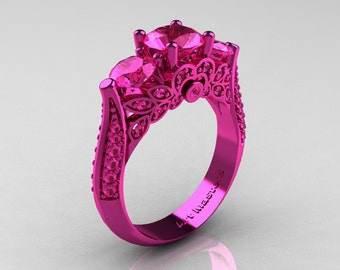 Classic 14K Pink Gold Three Stone Pink Sapphire Solitaire Engagement Ring, Wedding Ring R200-14KPGPS