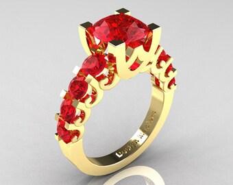 Modern Vintage 14K Yellow Gold 3.0 Carat Rubies Designer Wedding Ring R142-14KYGR